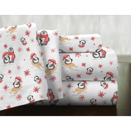Pointehaven Penguin 100pct Cotton Flannel Sheet Set
