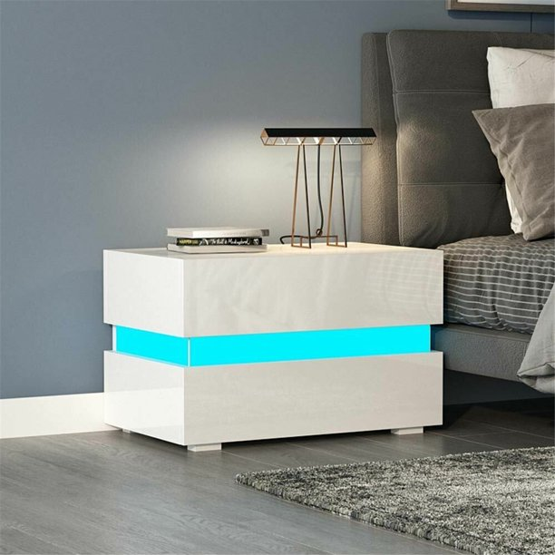 2 Drawers Night Stand with RGB LED Light Mode System, High Gloss Bedroom End Table for Small Spaces - 24 x 15 x 18 Inches