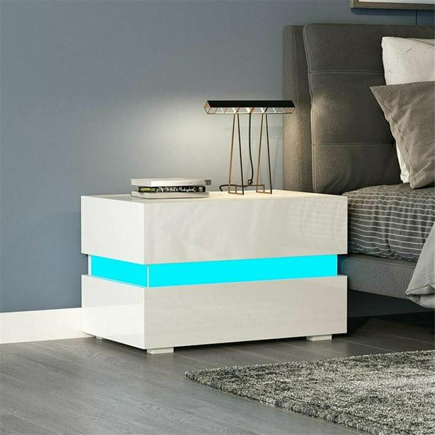 led 2 drawer nightstand bedside table with rgb led backlights bedroom home furniture
