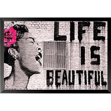 buyartforless Life Is Beautiful Urban Graffiti Wall Art - Walmart.com