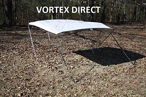"""New GREY  GRAY STAINLESS STEEL FRAME VORTEX 4 BOW PONTOON DECK BOAT BIMINI TOP 8' LONG, 67-72"""" WIDE (FAST SHIPPING... by VORTEX DIRECT"""