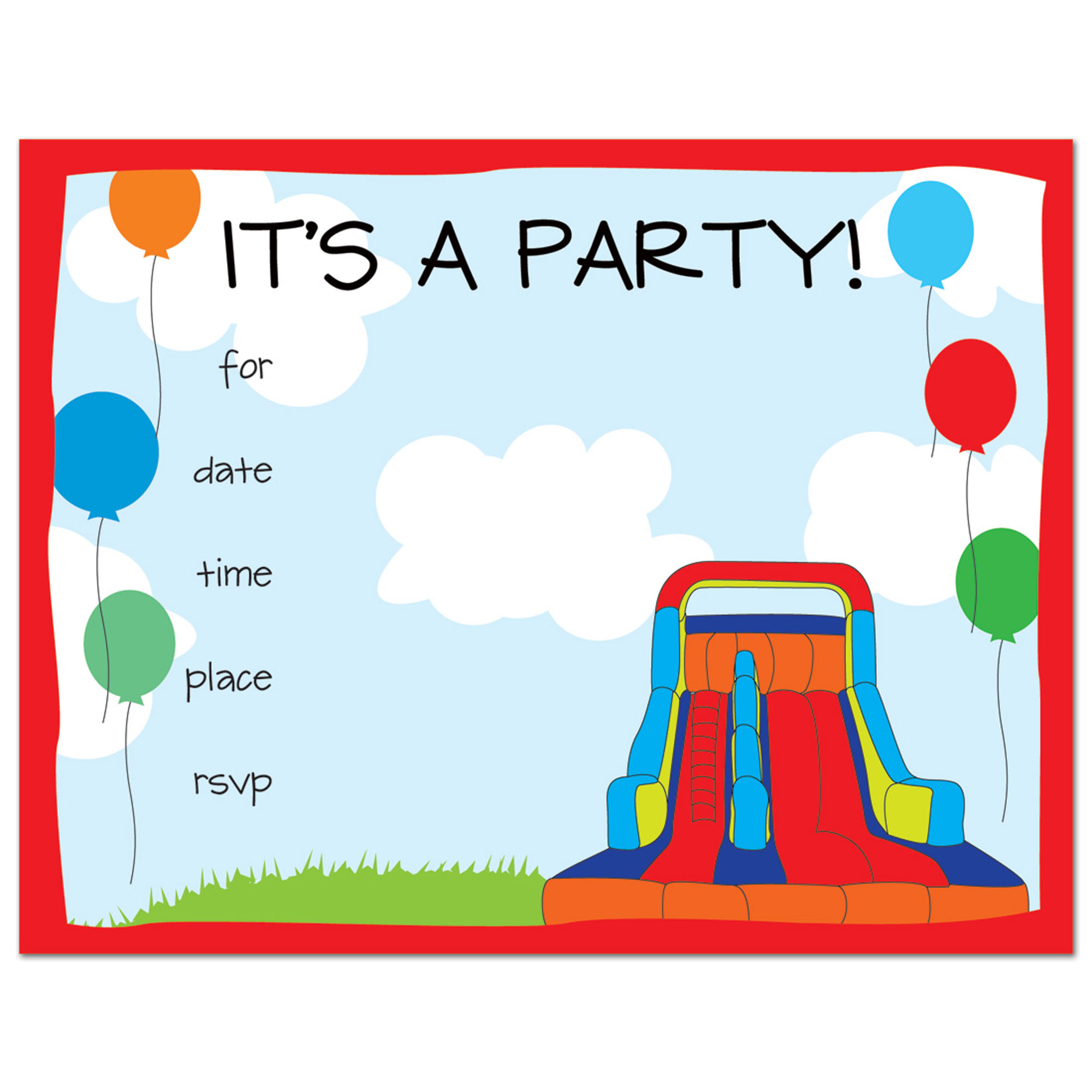 Bounce House Fill-in Kids Birthday Party Invitations and Envelopes- 24  count
