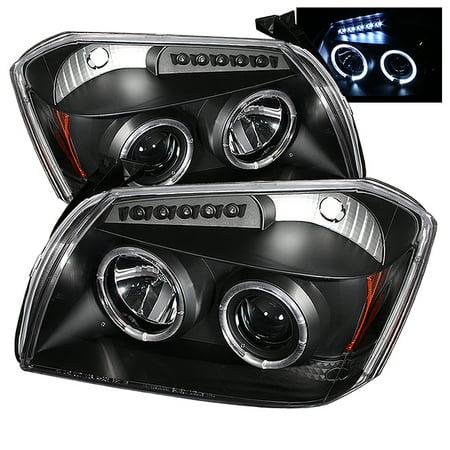 Fits 2005-2007 Dodge Magnum Black Bezel Halo LED Projector Headlights Lamps (Dodge Magnum Headlight Replacement)