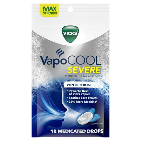 Vicks VapoCOOL Severe Medicated Drops 18ct, Best used to soothe sore throat (Best Drapes)