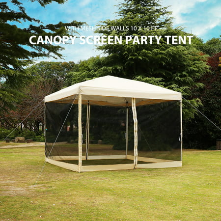 Pop up Canopy with Netting Screen House Instant Gazebo Party Tent 10 x 10 ft - beige