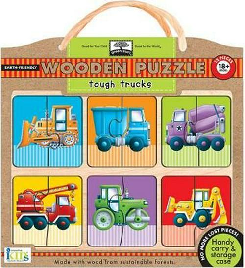 Green Start Tough Trucks Wood Puzzle