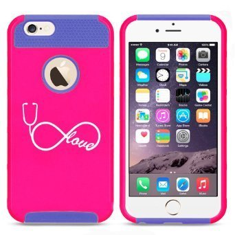 Apple iPhone 6 Plus / 6s Plus Hybrid Shockproof Impact Hard Cover / Soft Silicone Rubber Inside Case Infinity Love Nursing Stethoscope (Hot Pink-Blue),MIP