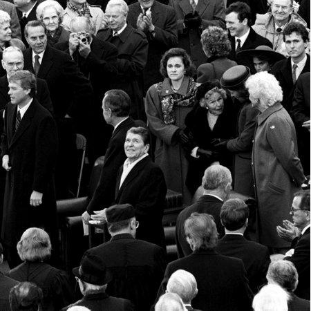 President Ronald Reagan at George H W Bushes inauguration Photo Print
