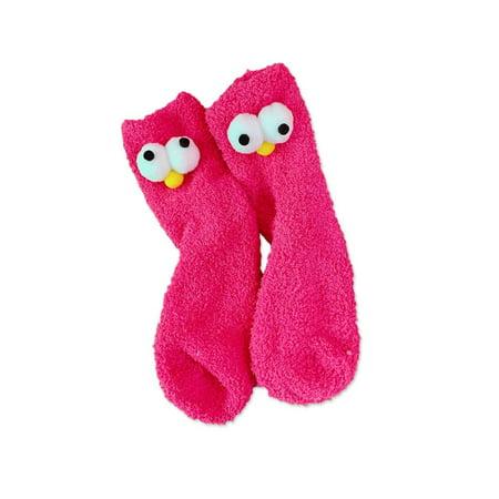 Cute Three-Dimensional Big Eyes Coral Velvet Socks Women Plus Velvet Thick - image 1 de 3