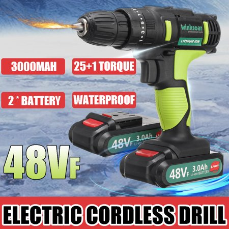 Electric Impact Drill 48VF 30000MAH Cordless Impact Drill 2-speed Function 2 Speed Drill 25 1 torque adjustment Power Tool Easy to Carry with LED