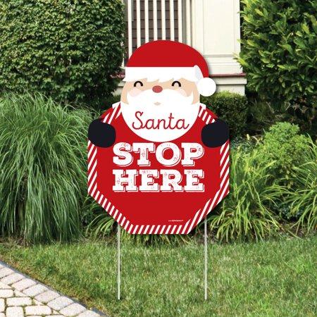 Jolly Santa Claus - Santa Stop Here Yard Sign - Christmas Welcome Yard - Santa Stop Here Sign