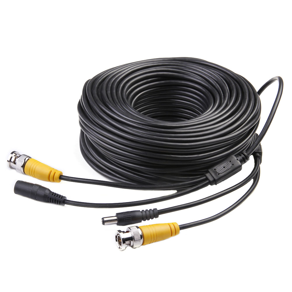 Masione 100ft Feet Video Power Cables BNC RCA Security Camera Wires Cords for CCTV DVR Home Surveillance System with Bonus Connectors