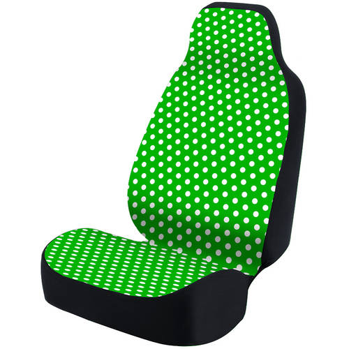 Coverking Universal Seat Cover Fashion Print, Ultra Suede, Polka Dots White and Green Background with Black Interlock Backing