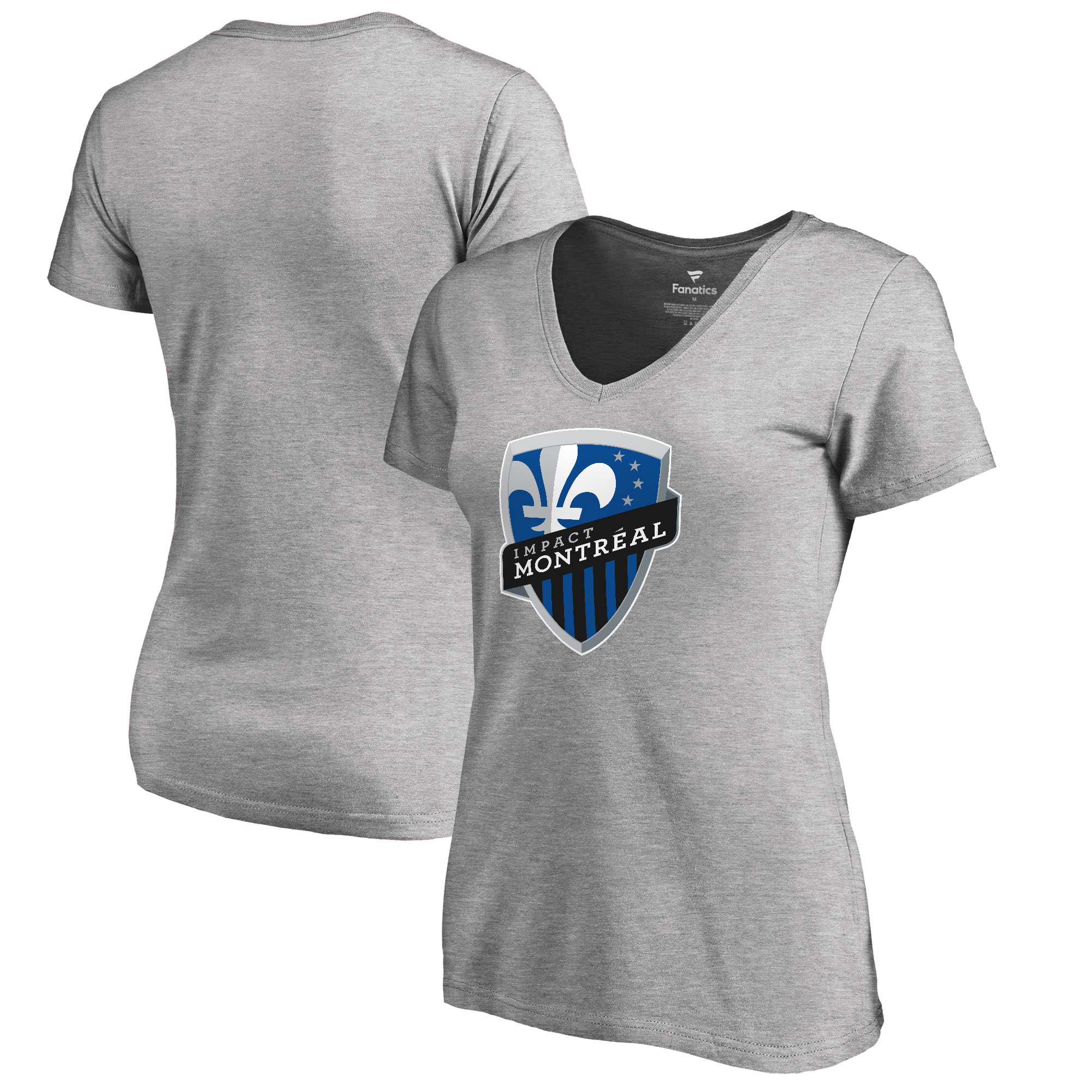 Montreal Impact Fanatics Branded Women's Primary Logo V-Neck T-Shirt - Heathered Gray