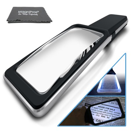 Large Magnifying Glass Handheld Reading Magnifier 3X + 5X Magnification with 10 Dimmable LEDs [Provides Evenly Lit Viewing Area] Ideal for Reading Small Prints, Book, Low Vision, Read Easily at Night - Magnifing Glass