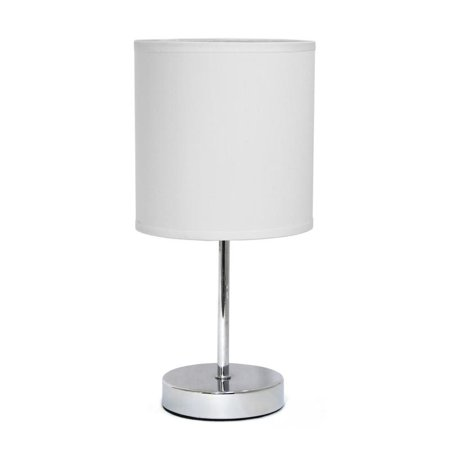 Simple Designs Chrome Mini Basic Table Lamp with Fabric