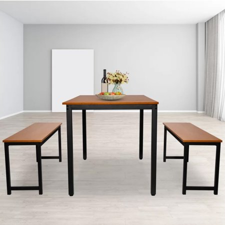 Dining Room Table Set, 3 Pieces URHOMEPRO Kitchen Table Set with Two Benches, Metal Frame and MDF Board Breakfast Nook, Modern Furniture for Home, Cafeteria, Apartment, Farm House, Brown, Q9014