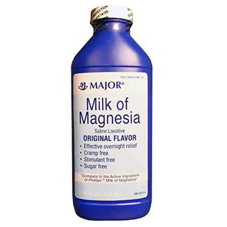 2 Pack Major Milk of Magnesia Saline Laxative Original Flavor 16 Oz Each