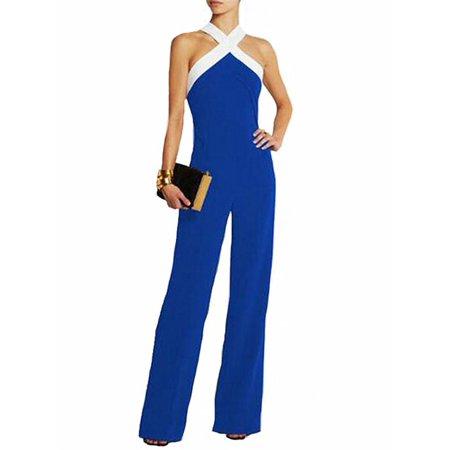 Women's Casual Zip Up Halter Neck Comfy Wide Leg Jumpsuits - Zip Jumpsuit