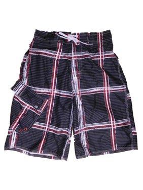 Mens Gray/Red Plaid Cargo Board Shorts Swim Trunks Small