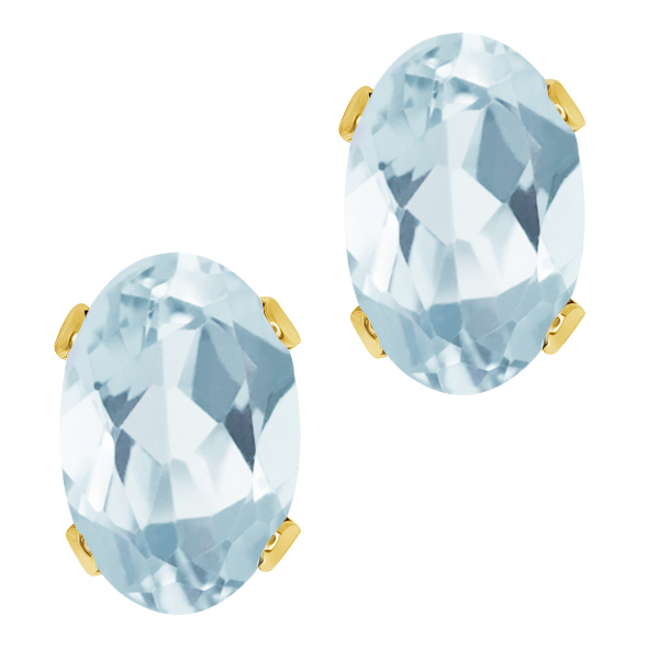 0.86 Ct Oval Shape Sky Blue Aquamarine Yellow Gold Plated Silver Stud Earrings