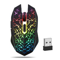 Wireless Gaming Mouse, TSV Silent Click Wireless Rechargeable Mouse with Colorful LED Lights and 2400/1600/1200 DPI for Laptop and Computer