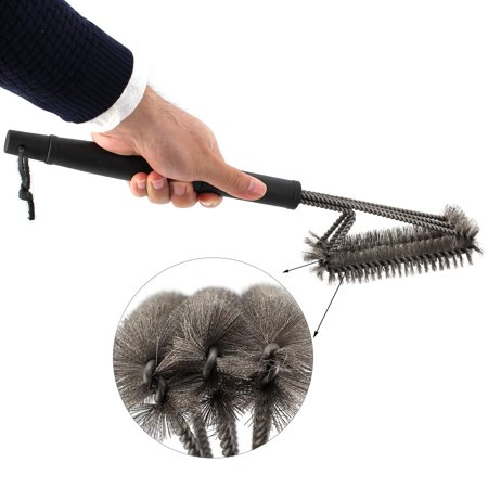【Best Gift for Labor Day】Grill Brush Bristle Free Barbecue Grill Brush - 100% Rust Resistant Stainless Steel BBQ Grill Cleaner Safe For Porcelain, Ceramic, Steel, Iron Great Grilling (Porcelain Barbecue)