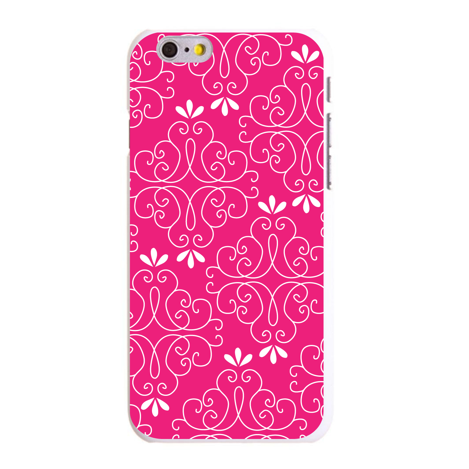 """CUSTOM White Hard Plastic Snap-On Case for Apple iPhone 6 PLUS / 6S PLUS (5.5"""" Screen) - Neon Pink White Floral"""