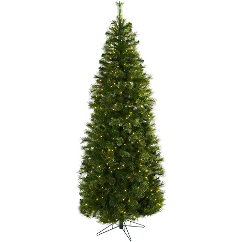 Nearly Natural 7-1/2' Cashmere Slim Christmas Tree with Clear ...