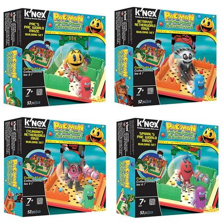K'Nex Pac-Man Figure Maze Building Block Toy | Pacman - Cylindria - Spiral - Betrayus | Deluxe Collector Set of 4 | Video Game Cartoon Merchandise Collectible