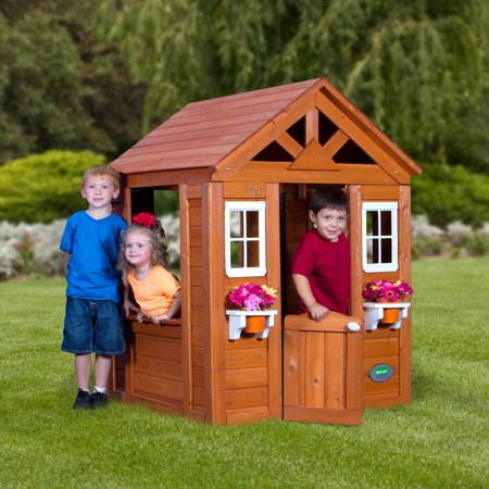backyard discovery timberlake cedar wooden playhouse. Black Bedroom Furniture Sets. Home Design Ideas