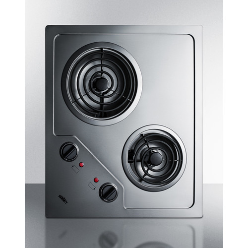 CR2B122 22 Electric Cooktop with 2 Coil Elements  Residual Heat Indicator  Indicator Lights and Versatile Placement: Stainless Steel""