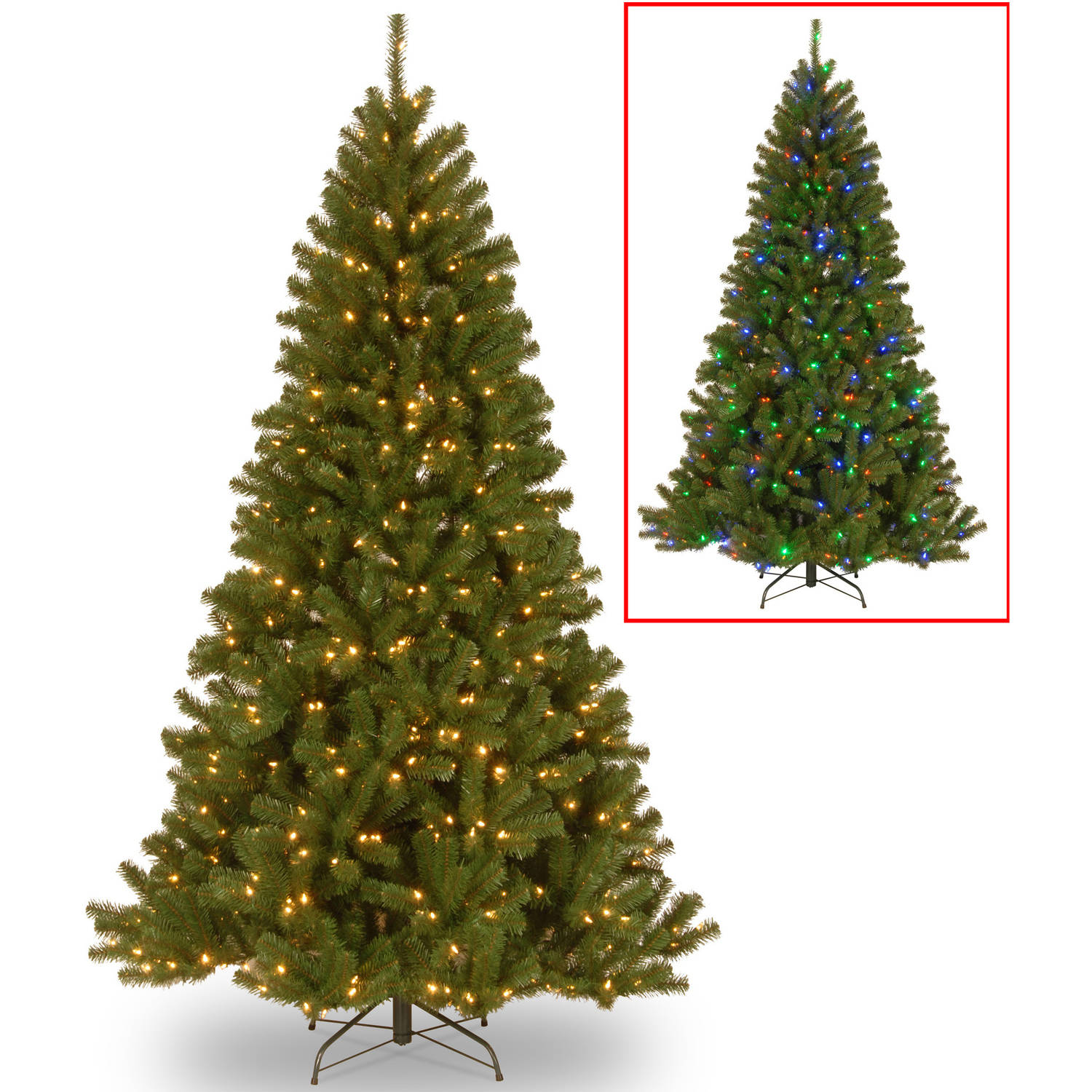 National Tree 7.5' North Valley Spruce Hinged Tree with 550 Dual-Color LED Lights and PowerConnect System, 9 Functions