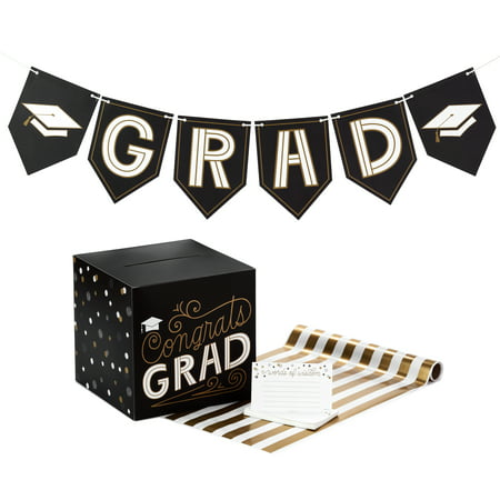 Hallmark Graduation Party Kit, Black and Gold (Banner, Table Runner, Card Box, 25 Advice Cards)