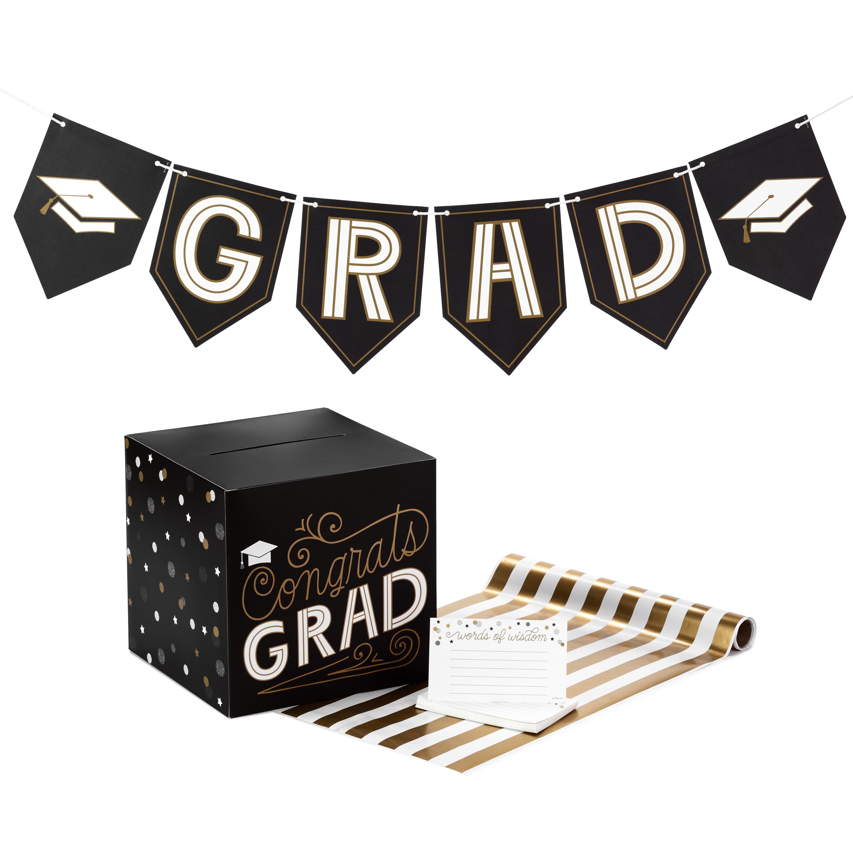 Hallmark Graduation Party Kit, Black and Gold (Banner, Table Runner, Card Box, 25 Advice Cards)