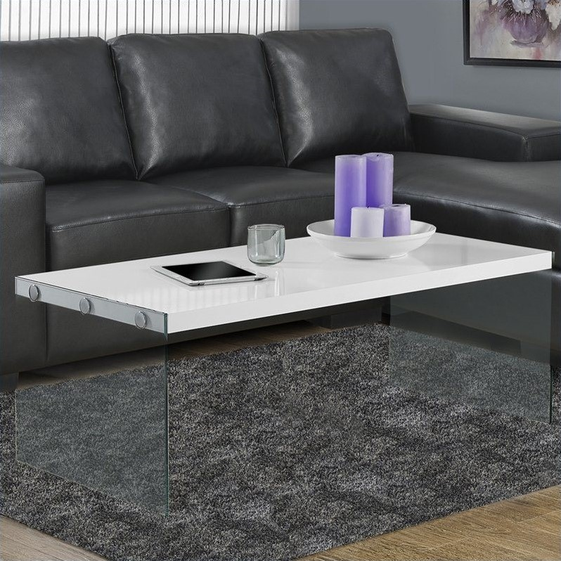 Kingfisher Lane Tempered Glass Coffee Table in Glossy White