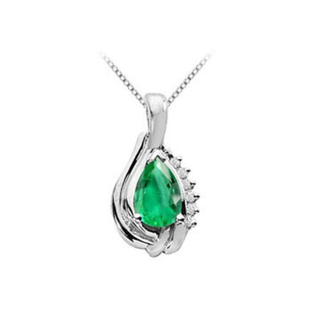 Pendant 14K White Gold with Created Emerald Pear Shape and Round Cubic Zirconia 1.06 Carat TGW - image 1 de 2
