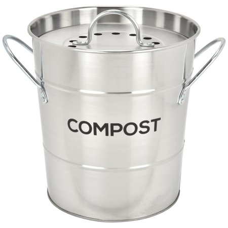 Spigo Steel Kitchen Compost Bin With Vented Charcoal Filter and Bucket, Satin Silver, 1 Gallon ()