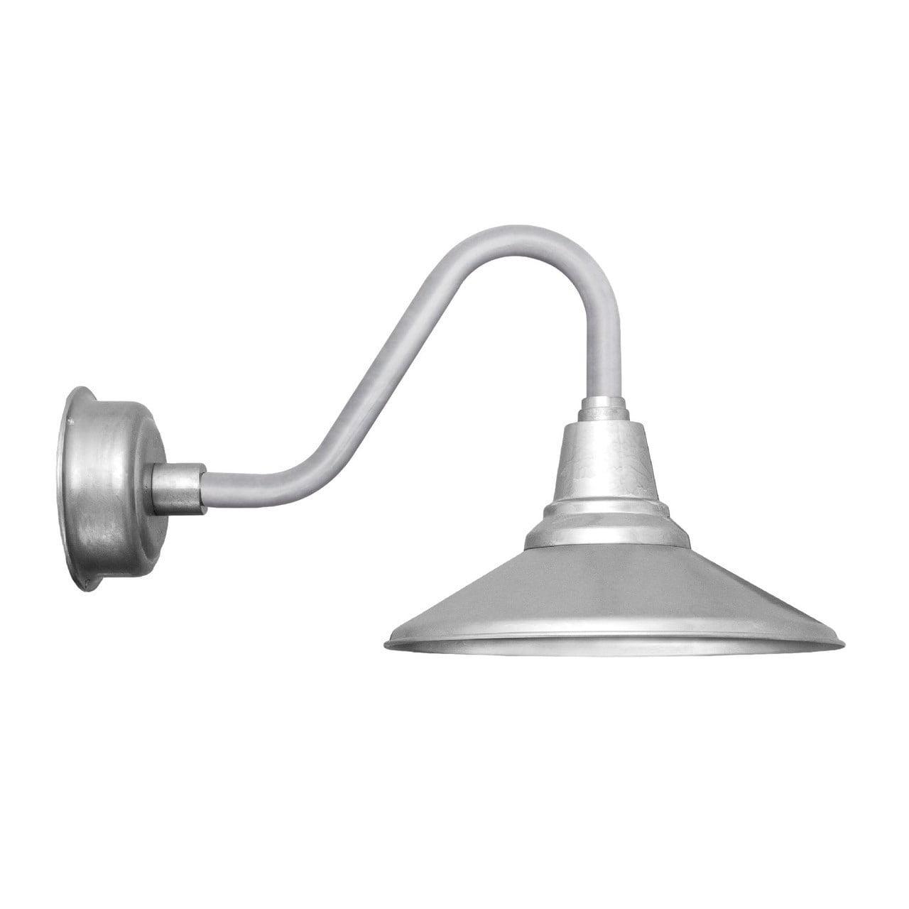 Cocoweb 20 calla led barn light with vintage arm in galvanized silver