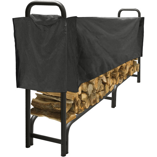 8 FT Heavy Duty Log Rack with Half Cover by GHP Group, Inc.