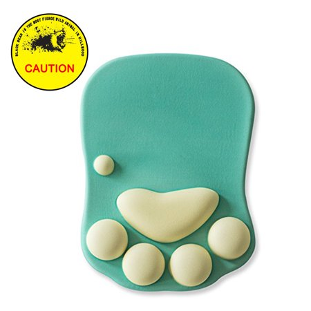 Cat Paw Mouse Pad with Wrist Support, Soft Silicone Wrist Rests & Wrist Cushion & Computer Mouse Pad, Green