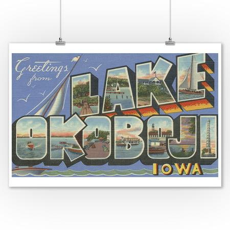 Lake Okoboji, Iowa - Large Letter Scenes (9x12 Art Print, Wall Decor Travel Poster) ()