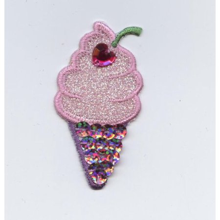 Ice Cream Cone - Pink/Purple - Sequins/Stone - Iron On Applique/Embroidered Patch Cone Reflector White Trim