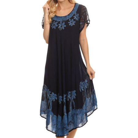 Sakkas Batik Palm Tree Cap Sleeve Caftan Dress / Cover Up - Navy Ocean - One Size