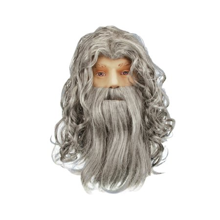 Star Power Wizard Warlock or Sorcerer Beard & Wig, Grey, One - Wizard Of Oz Lion Wig