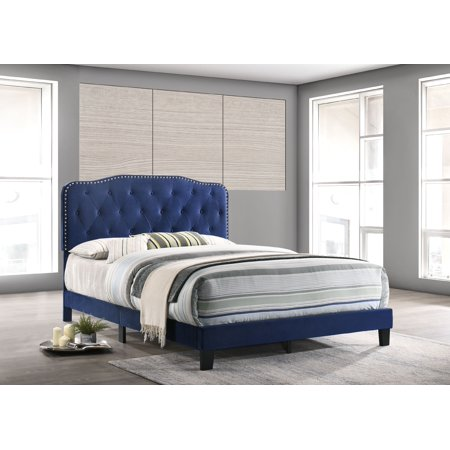 Best Quality Furniture Uph. Panel Bed in Velvet Fabric, 2 Colors to Choose (Black or Navy) & 3 Different Sizes (Q, F or T) -