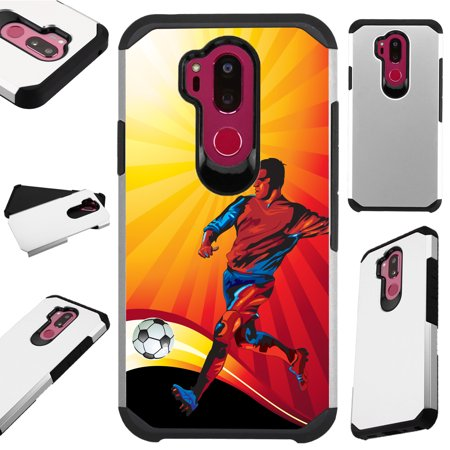 For LG X Power 3 (2018) Case Hybrid TPU Fusion Phone Cover (Soccer Kick)