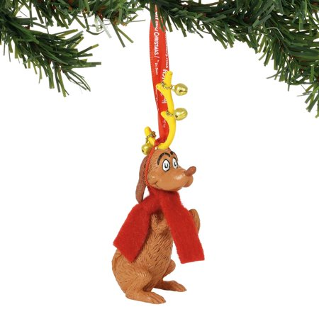Department 56 Dr. Seuss 6000309 Max with Jingle Bells Ornament (Dr Seuss Christmas Decorations)