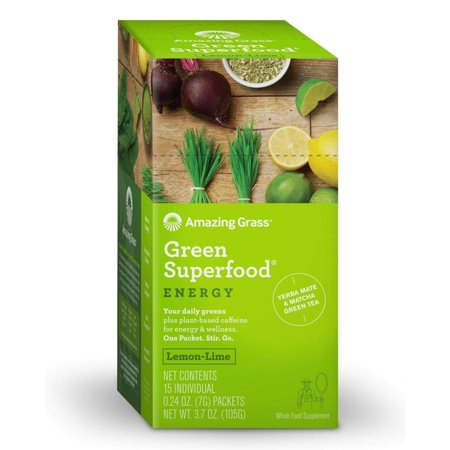 Amazing Grass Energy Green Superfood Powder, Lemon Lime, 15 Packets (Amazing Grass Energy Lemon Lime)