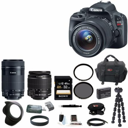 Canon EOS Rebel SL1 DSLR Camera with 18-55mm & 55-250mm Lenses and 32GB Bundle
